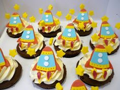 cute rocket cupcake toppers for a space party