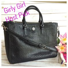 """TORY BURCH Large Black Tote Beautiful Black Leather Basketweave Design. Silver Hardware. Roomy double zip top bag with detachable cross body strap. 6"""" Drop Handles. Snap closure. Numerous interior pockets. Great for travel, work or just everyday!  15"""" x 10"""" x 6"""". Excellent NWT Condition. Dust bag included. Tory Burch Bags"""