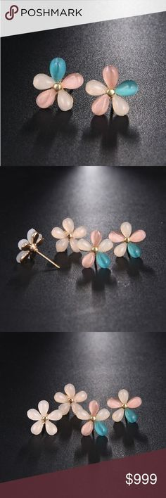 """PREVIEW! #Opal #Multicolor #Mini #Flower #Stud #Earrings #COMING #SOON!! #""""Like"""" #To #Be #Notified!! #Brand #new #in #original #packaging. #Trendy #& #fashionable #mini #colorful #opal #flower #stud #earrings. #Delicate #ear #stud #tiny #Cz #flower #minimalist #earrings. #These #adorable #studs #feature #floral #blush #pink, #turquoise #blue-green #& #creamy #pink #stones #w/ #golden #rose... Ear Jewelry, Pink Stone, Pink Turquoise, Turquoise Earrings, Minimalist Earrings, Ear Studs, Rose Buds, Flower Stud, Blush Pink"""