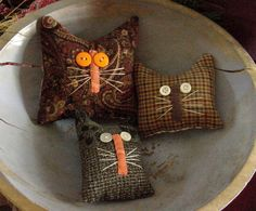 Primitive Kitty Cats Bowl Fillers Drawer Dwellers Autumn Halloween Set of 3 #NaivePrimitive