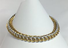Gold and Silver Anodised Aluminium Half Persian Chainmaille Bracelet