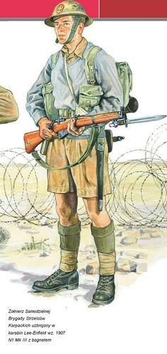 Polish soldier of Independent Carpathian Rifles Brigade ( Polish Corps) Tobruk 1941 Military Art, Military History, Military Diorama, Commonwealth, Ww2 Uniforms, Military Uniforms, Military Drawings, Ww2 History, Home Guard