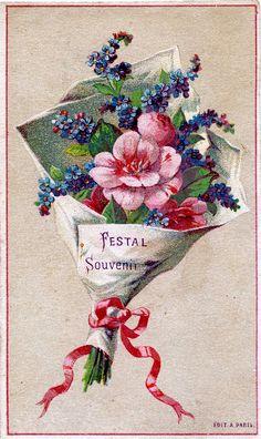 Vintage printables - Vintage Graphic - Pretty French Bouquet - The Graphics Fairy Images Vintage, Art Vintage, Vintage Poster, Vintage Prints, Vintage Graphic, Vintage Artwork, Vintage Labels, Vintage Ephemera, Vintage Postcards