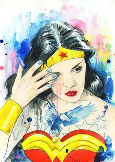 Wonder Woman - Watercolor Art by Lora-Zombie Wonder Woman Kunst, Wonder Woman Art, Wonder Woman Comic, Wonder Women, Lora Zombie, Zombie Art, Illustrations, Illustration Art, Sandra Chevrier