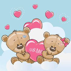 Valentine card with Cute Cartoon Lovers Bears Tatty Teddy, Bear Cartoon, Cute Cartoon, Cute Bear Drawings, Bear Vector, Bear Valentines, Card Drawing, Love Bear, Cute Friends