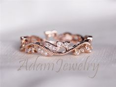 Fancy Solid 14K Rose Gold Wedding Band Full van AdamJewelry op Etsy