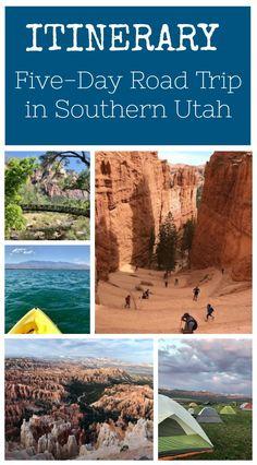 Itinerary: Five Day Southern Utah Road Trip - Travel tips - Travel tour - travel ideas Utah Vacation, Family Vacation Destinations, Vacation Spots, Travel Destinations, Family Vacations, Vacation Ideas, Cruise Vacation, Disney Cruise, Honeymoon Trip