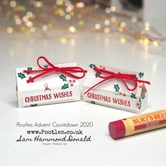 #1 Stampin' Up! UK Demonstrator Pootles – Pootles Advent Countdown 2020 How To Make a Lip Balm Box with Banner Year Stampin Up Christmas, Christmas Wishes, Christmas Themes, Christmas Crafts, Treat Holder, Little Gifts, Small Gifts, Lip Balm, Making Ideas
