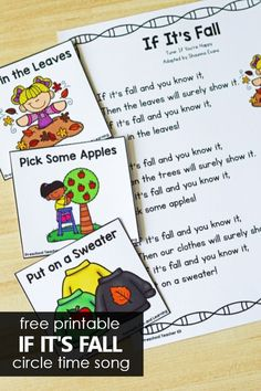 If It's Fall Preschool Song - Autumn Activities for Preschoolers. Use this printable If It's Fall Preschool Circle Time song to help preschoolers learn fall vocabulary and some of the common changes we see during fall! Preschool Circle Time Songs, Preschool Movement Activities, Circle Time Activities, Preschool Songs, Toddler Learning Activities, Preschool Themes, Autumn Activities, Fun Learning, Preschool Theme Fall