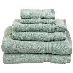 "Set of six Egyptian cotton towels in sage. Comes with two hand towels, two face towels, and two bath towels.    Product: 2 Face towels, 2 hand towels and 2 bath towels    Construction Material: 100% Egyptian cotton   Color: Sage     Features:   Extremely soft and absorbent  Excellent update to any bathroom decor  600 Grams per square meter  Dimensions:  Bath Towel: 30"" x 54"" each  Hand Towel: 16"" x 30"" each  Face Towel: 13"" x 13"" each     Cleaning and Care: Machine washable"