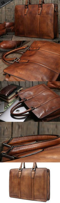 689793cd4e41 Handmade leather men Briefcase messenger large vintage shoulder laptop bag  vintage bag - bags