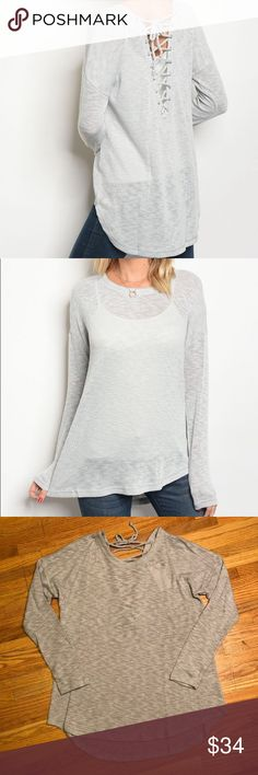 New! ✨ Lace-Up Sweater Lightweight grey sweater with gorgeous lace up back. So soft and comfy! Available in small, medium or large. Sweaters