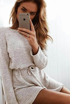 O Hals Langarm Strick Overall Frauen Elastische Taille Strampler Sexy Combinaison Femme Open Back Club Party Jumpsuits Chill Outfits, Stylish Outfits, Fashion Outfits, Fashion Trends, Fashion Inspiration, Grey Knit Dress, Sexy, Sabo Skirt, Rompers Women