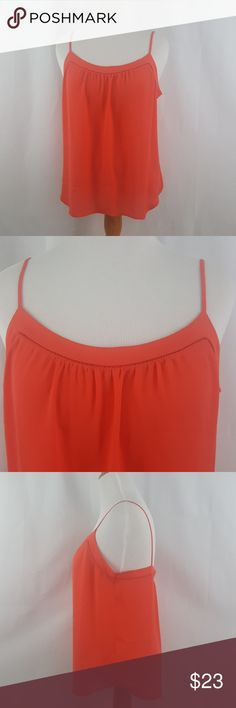 """Ann Taylor Loft Coral Dressy Tank Top Large Ann Taylor LOFT  Womens Size Large  Loose fitting, fits more like a L/XL 100% Polyester  Armpit to armpit approx 20.5"""" Shoulder to hem approx 25""""   Womens fashion, womens clothing, spring fashion, summer fashion, Strappy tank top.    S LOFT Tops Tank Tops"""