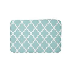 Mint Green Quatrefoil Tiles Pattern Bath Mat