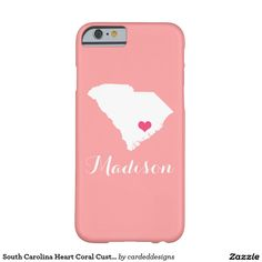 South Carolina Heart Coral Custom Monogram Barely There iPhone 6 Case