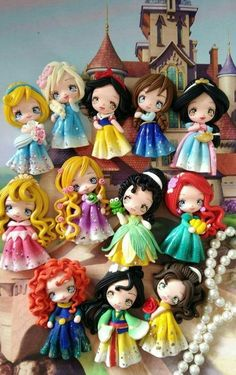 Set of princess new look clay edition 3 pendant- scrapbooki Polymer Clay Princess, Polymer Clay Disney, Polymer Clay Figures, Cute Polymer Clay, Cute Clay, Polymer Clay Dolls, Polymer Clay Miniatures, Polymer Clay Charms, Polymer Clay Creations