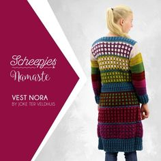 The first crochet pattern with Scheepjes Namaste is already released! Designer Joke Ter Veldhuis designed Cardigan Nora in 7 colours of the Namaste yarn. Crochet Stitches, Crochet Patterns, Crochet Jacket, Capelet, Cardigan Pattern, Long Cardigan, Mittens, Sweaters, Cardigans