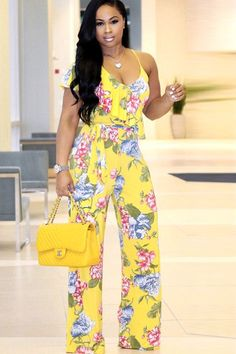 Women Yellow Ruffle Floral Wide Leg Casual Jumpsuit - S Yellow Jumpsuit, Ruffle Jumpsuit, Casual Jumpsuit, Jumpsuit With Sleeves, Floral Jumpsuit, Backless Jumpsuit, Strapless Jumpsuit, Denim Jumpsuit, Floral Romper