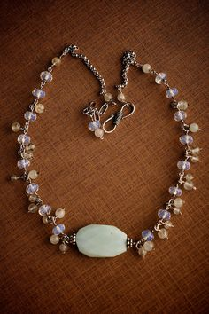 Silver necklace w/ Peruvian Opal Aquamarine & by tinybauble, $52.00