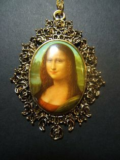 Mona Lisa vintage porcelain picture cameo by jenuineserendipity, $17.90