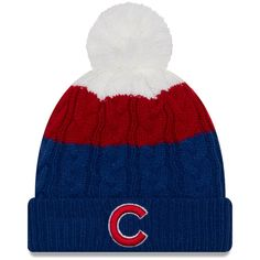 c9d5a9a47860e Women s Chicago Cubs New Era Royal Layered Up 2 Cuffed Knit Hat with Pom