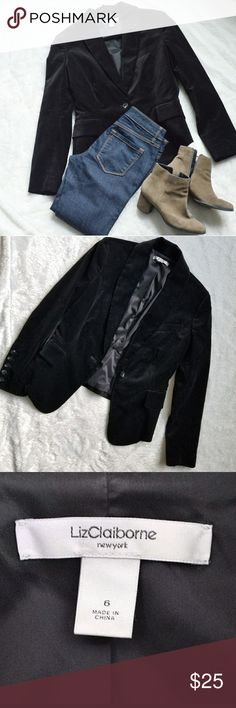 Liz Claiborne Velvet Blazer!! Beautiful black velour velvet single button blazer by Liz Claiborne. Gently used and in great condition. Very cute. Comes from a smoke-free pet-free home. Fast shipping! NO TRADES! Liz Claiborne Jackets & Coats Blazers