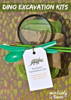 Dino Dig Excavation Kits Tutorial - Live.Craft.Love. Would be such a cute birthday party favor idea for a dinosaur themed birthday