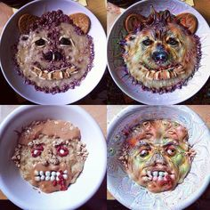 What happens when Google Deep Dream gets its hands on these wonderful breakfast art crafted for me..The only type of food photos I post. Happy pancake day #surrealism #foodart  #porridge #deepdream #google #surrealfoodporn #breakfast #pancakeday #zombie #bear #foodfaces #facesineverydaythings #inspiration by helenasikkphotography