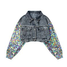 Jeans Top Cropped Denim Jacket Women Jacket Femme 2019 The post Glittered Sleeve! Jeans Top Cropped Denim Jacket Women Jacket Femme 2019 appeared first on Denim Diy. Denim Jacket Fashion, Cropped Denim Jacket, Denim Coat, Denim Jacket Vintage, Jacket Jeans, Look Fashion, Korean Fashion, Fashion Women, Sequin Jeans