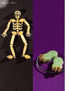 Skeletoni! (Skeletons made of different dried pastas) #Halloween @Phyllis Garcia