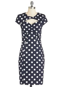 Film Noir Fan Dress - Cotton, Long, Nautical, Blue, White, Polka Dots, Buttons, Cutout, Party, Cocktail, Vintage Inspired, 40s, 50s, Sheath, Short Sleeves