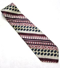 Vintage Necktie Crimson Navy White Stripe 4 by sweetie2sweetie, $9.99