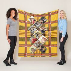 PHOTO Blanket Yellow RED Tartan Instagram Collage - anniversary cyo diy gift idea presents party celebration