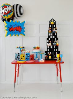 Simple Modern Superhero Birthday Party - Kara's Party Ideas - The Place for All Things Party Hulk Party, Superhero Theme Party, Party Themes For Boys, Birthday Party Games, Birthday Party Invitations, Car Party, Batman Party, Batman Birthday, Spiderman