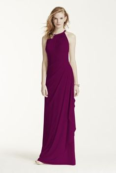 Ultra-feminine and unique this bridesmaid dress has unparalleled details that create a figure flattering silhouette!  Sleeveless illusion neckline with back keyhole is eye catching and chic.  Long soft