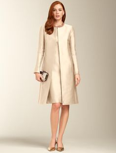 Talbots - Doupioni No-Close Duster Mother In Law Dresses, Mother Of The Bride Suits, Mother Of Bride Outfits, Cute Formal Dresses, Stylish Dresses For Girls, Couture Dresses, Fashion Dresses, Cocktail Vestidos, Classy Suits