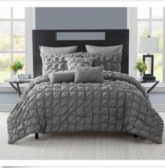 VCNY-Maya-8-piece-Queen-Size-Home-Bedding-Comforter-Set-Charcoal-collection-New