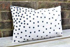pillow cover-black confetti dots