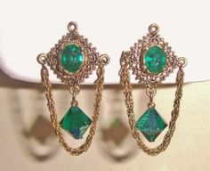 Regal Vintage Antiqued Goldtone Chain and Green Rhinestone Clip Earrings | eBay