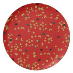 Red Graduation Confetti Plate #zazzle #graduation #plate #confetti #hats #red #gold #black #partyplate