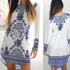 NWT Hi Lo Dress NWT blue and white hi lo belted long sleeve dress. Thicker material, NOT see through unless wearing dark undergarments. Blue Door Dresses High Low