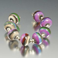 Organic silver glass lampwork beads  silvered by JudithBillig, $30.00