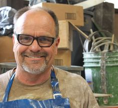 Russell Crittenden, die and mold maker, employee at Heath Ceramics in San Francisco since 1978. To learn more about Heath's facilities in San Francisco and Sausolito, check  out the March 2015 issue of Ceramics Monthly. http://ceramicartsdaily.org/ceramics-monthly/ceramics-monthly-march-2015/