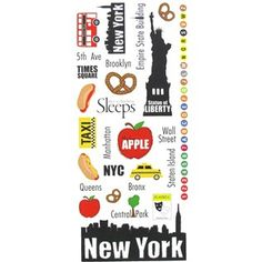 "Celebrate the memorable moments from your trip with these New York Vacation Stickers! These fun stickers include designs like the Statue of Liberty, subway-style numbers and letters, hot dogs, a tour bus, a playbill, pretzels, a taxi, and more! Place these colorful stickers alongside photos from your vacation and let your memories speak for themselves.    	     	Dimensions:    	  		Sheet Length: 12""  	  		Sheet Width: 5""      	     	Package contains 1 sheet of 28 ..."