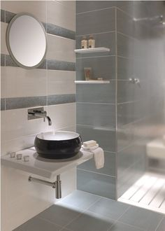 Fox Azul and Blanco tiles. Using this layout - blue inside the shower area, white elsewhere and three lines of border tiles. Man Bathroom, Grey Bathrooms, Bathroom Ideas, Loft Bathroom, Bathroom Inspiration, Duck Egg Blue Bathroom Tiles, Wall And Floor Tiles, Wall Tiles, Topps Tiles