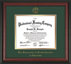 UNC Charlotte Diploma Frame - Rosewood - w/UNCC seal Green/Gold – Professional Framing Company