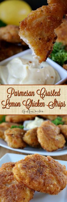 These Parmesan Crusted Lemon Chicken Strips taste amazing with the crunchy coating and the taste of lemon throughout. Perfect appetizer everyone will enjoy! Carne, Parmesan Crusted, Crusted Chicken, Crispy Chicken, Le Diner, Chicken Strips, Lemon Chicken, Food Dishes, Main Dishes