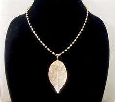24K Gold Plated Leaf Pendant Necklace by LoveLeeDesignz on Etsy