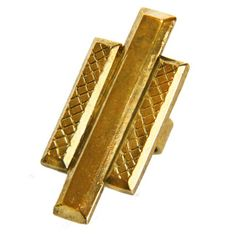 This beautifully hand engraved antique gold plated ring is meant to leave a stunning statement! Featuring a criss-cross texture, this faceted rectangle ring is large and will grab everyone's attention! Please allow 1-2 weeks for this item to be made.